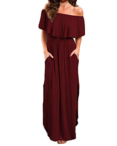 BYSBZD Women's Off The Shoulder Ruffle Party Dress Casual Side Split Beach Long Maxi Dresses Wine Red XL ()