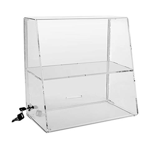 Acrylic Display Case 13-3 4 H x 14 W x 7-3 4 D Locking Display Case with 1 Inside Shelf ACAS81 Countertop Case with Slide-Up Back Door