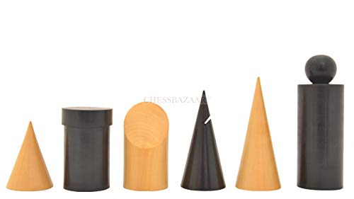 Geometric Minimalist Pattern Seamless Design Chess Pieces in Ebonized Boxwood & Natural Boxwood - 3.4