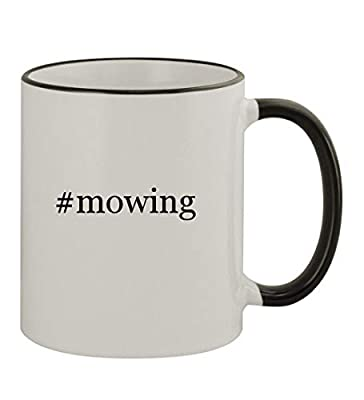 #mowing - 11oz Hashtag Colored Rim & Handle Sturdy Ceramic Coffee Cup Mug