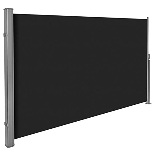 Groten Seitenmarkise, Ausziehbar Polyester Windschutz Markise für Balkon Terrasse Garten, Diverse Farben und Größen (Schwarz)