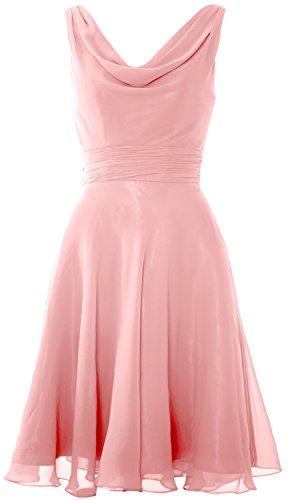 MACloth Cocktail Party Wedding Cowl Dress Bridesmaid Short Zartrosa Elegant Neck Gown rFwCrq