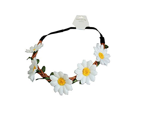 LD DRESS Women Bohemian Floral White Daisy Flower Elastic Headband Headpieces (White)