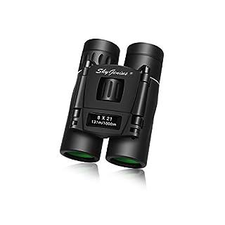 SkyGenius 8x21 Small Compact Lightweight Binoculars for Concert Theater Opera .Mini Pocket Folding Binoculars w/Fully Coated Lens for Travel Hiking Bird Watching Adults Kids(0.38lb)