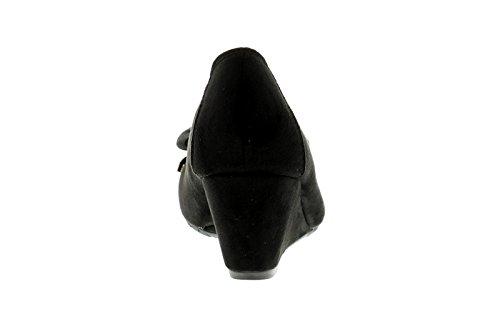 Nuevo Mujer Comfort Plus De Cuña Zapatos lazo de adorno para - Negro - GB Tallas 3-8