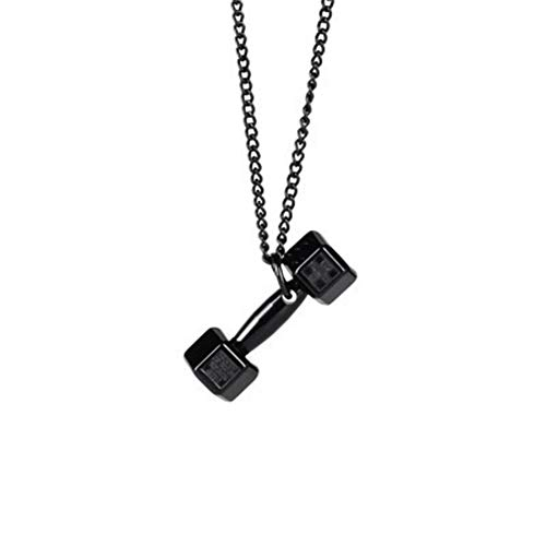 - YUSHHO56T Necklace Interior Decoration Pendant Fashion Metal Dumbbell Pendant Unisex Necklace Jewelry Car Hanging Ornament Gift - Black