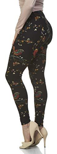 (LMB | Lush Moda | Women's Extra Soft Leggings | Variety of Prints | One Size | Birds Garden)