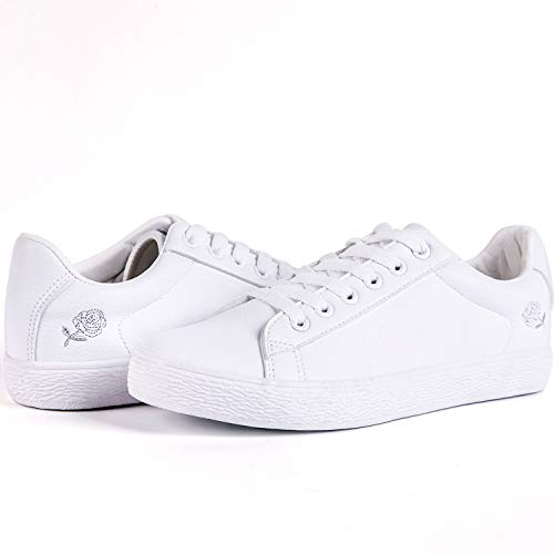 Lantina Women's Low Top Fashion Sneakers PU Leather Shoes Comfy for Ladies Girls Tennis Sport Walking Dress Cute Comfortable and Simple Casual with Support, Embroidered Golden Rose All White Size 6