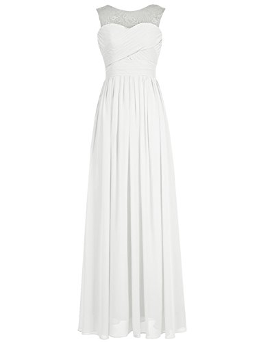 Tideclothes Long Chiffon Scoop Lace Bridesmaid Prom Evening Dress Ivory US26Plus (Big Poofy Dresses)