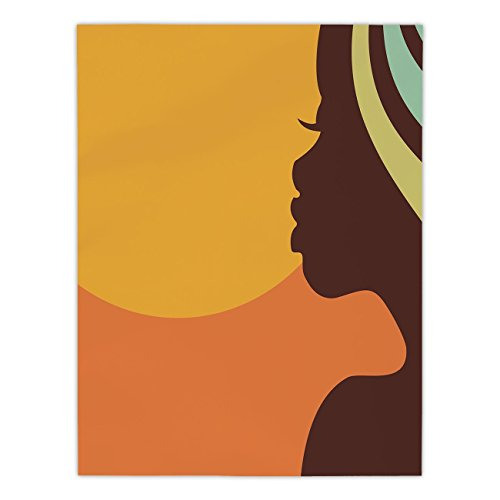 Proof Sun Age Care (Polyester Rectangular Tablecloth,African Woman,Teenage Girl Pretty Face Profile Abstract Sunset Calm Evening Decorative,Orange Salmon Dark Brown,Dining Room Kitchen Picnic Table Cloth Cover,for Outdoo)
