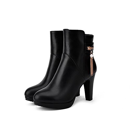 Closed Women's Black Solid AmoonyFashion Round Material Boots Zipper Toe High Soft Heels RXgxZF