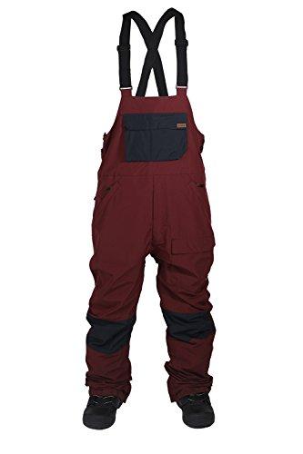 10k Mens Outerwear Pant (Ride Snowboard Outerwear CENTRAL Bib, Navy/Burgundy, XX-Large)