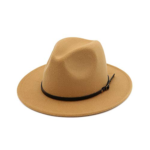 Vim Tree Women's Classic Wide Brim Fedora Hat with Belt Buckle Felt Panama Hat Camel]()