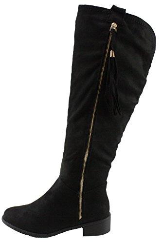 TOP Moda Women's Greta-1 Faux Suede Low Heel Knee High Boots,Black,6