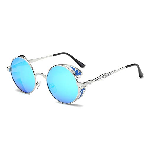 SZ·LINGKE Polarized Unisex Oversized Vintage Round SunGlasses For Men Women Driving Cycle Big Metal Frame Mirror Lens Retro Classical Hot Stlye SteamPunk Eye Glasses UV Protect Goggles(Silver & Blue)