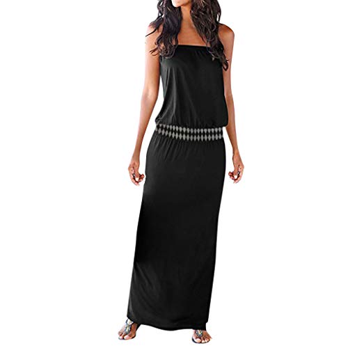Sunhusing Ladies Summer Beach Wind Bohemian Print Sexy Bandeau Dress Holiday Strapless Long Maxi Dress - Tvs Inch Diagonal 32