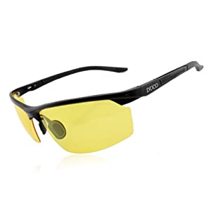 Duco Anti-glare Night-vision Glasses Polarized Driving Glasses Night Driving 8529, Black Frame, Yellow