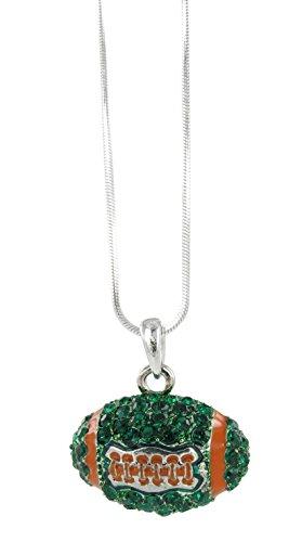 Dome Football Rhinestone Pendant Necklace - Dark Green Crystal and Orange Enamel