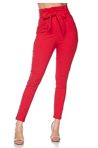 TwiinSisters Women's Casual High Waist Bow Tie Front Pants with Spandex (Medium, Red #62002)