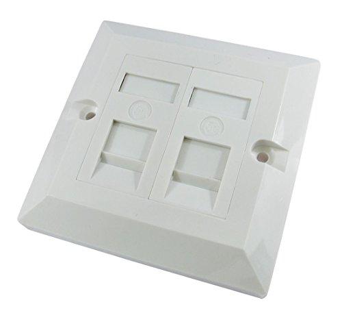 RJ45 Face Plate Wall Socket Cat6 Ethernet Single Gang 2 Port with Keystones ()