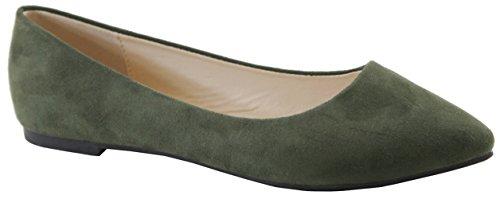 Cambridge Select Femme Fermé Bout Pointu Classique Ballerine Slip Flat Olive Imsu