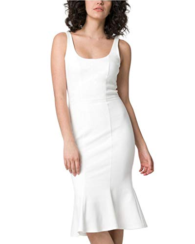LE CHÂTEAU Ponte Scoop Neck Trumpet Dress,XXS,Off ()