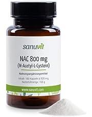Sanuvit® - NAC 800 mg per capsule, hoge dosis, N-acetyl-L-cysteen, hoge biologische beschikbaarheid en verdraagzaamheid, veganistisch, geproduceerd in Oostenrijk, 180 capsules