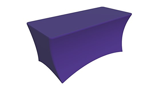 SY66 Tablecloth Cover, 6 ft white,Table Cloth Skirts, Rectangular, Polyester/Spandex, Elastic, Stretchable Linen, Stain & Wrinkle Proof, for Folding Tables, Wedding, DJ, Events (Deep purple) by sy0606