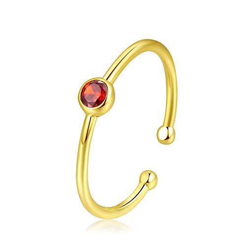 (espere Sterling Silver Birthstone Stacking Ring Dainty Birthstone Rings Open Adjustable [July - Ruby])