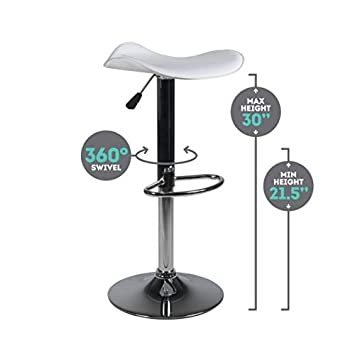 Milliard Bar Stools Set of 2 Height Adjustable 21.5 – 30 Counter Height White