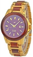 Wood Mark ZS-1036G Mens Chesapeake Gold Stainless Steel & Red Sandalwood Watch