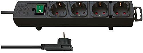 Brennenstuhl Comfort-Line Plus stekkerdoos 4-voudig (met platte stekker, schakelaar, 2 m kabel en extra brede afstanden…
