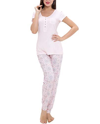 Jogger Set - Lounge Women Pajamas Set - Pajamas for Women, Short Sleeve and Jogger Pants Sleepwear Set