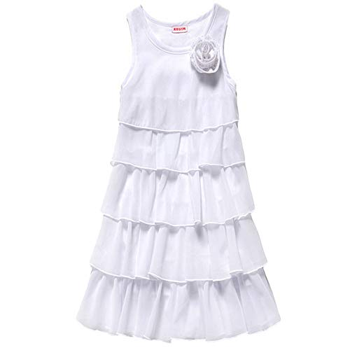 HOLIBEE Girls Sleeveless Party Beach Dresses Summer Tank Sleeve Tiered Sundress Princess Ruffle Hem Swing Dress 10Years White