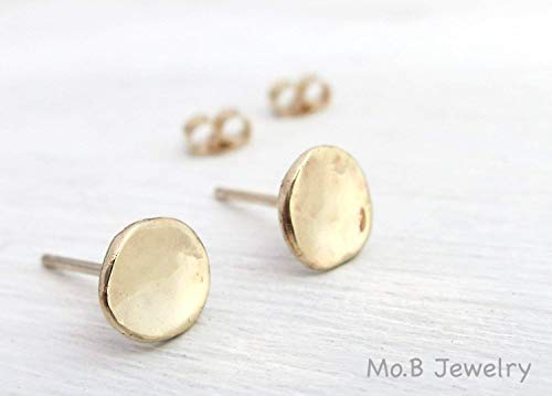 Solid Gold Tiny Simple Stud Earrings In Natural Hammered Round shape, Small Simple Post Earrings, Minimalist Boho Artisan Handmade 14k Yellow Gold ()
