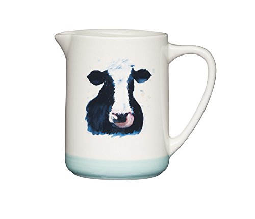 arm Hand Finished Vintage Ceramic Cow Milk Jug Pitcher Creamer Cream/Green 500ml 16.9fl oz ()