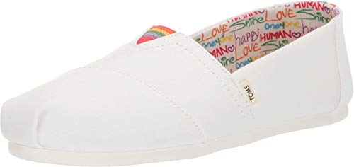 TOMS Women's Seasonal Classics White Canvas Unity 5 B US (Classic Flat Knit Sock)
