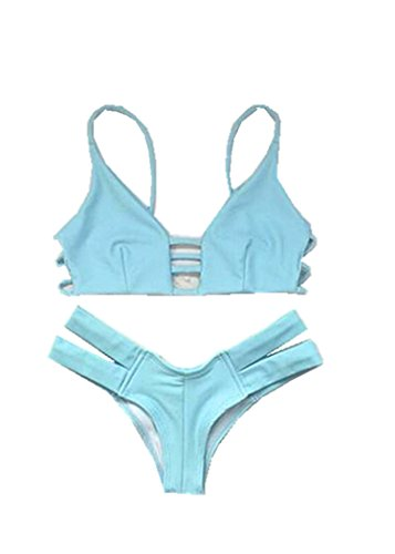 Qumei Mujer Push Up Top & Triangle Bottom Mujer Traje de baño Bikini Color sólido