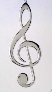 Silver Treble Clef Music Instrument Replica Christmas Ornament, Size 5 inch -