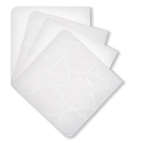 modern-twist Pebbles PrintSet of 4 Coasters 100% plastic free silicone, tabletop, dining, decoration, modern design, White ()