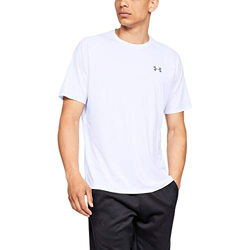 Under Armour Men's Tech 2.0 Short Sleeve T-Shirt, White (100)/Overcast Gray, Medium (Under Armour Heatgear Short Sleeve T Shirt Mens)