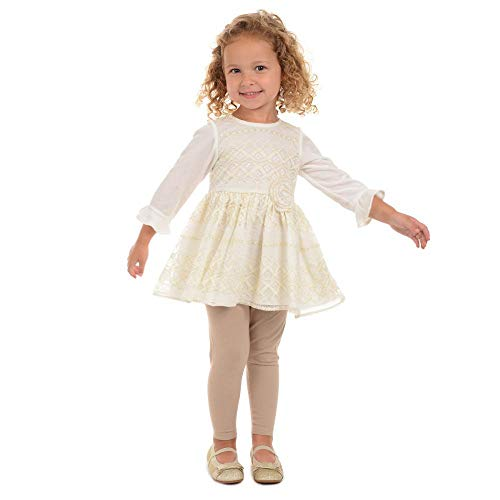 Pastourelle by Pippa & Julie Girls Clothing Set with Specialty Tunic and Leggings, Ivory/Gold, 3T ()