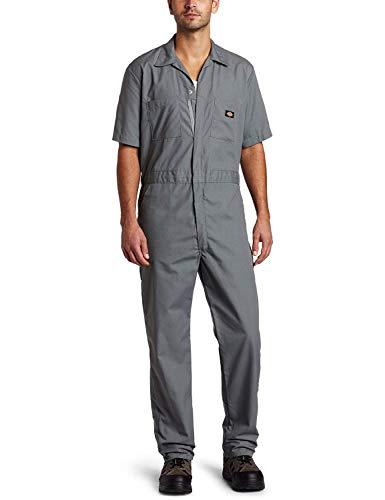 Dickies Mens Coveralls - Dickies Men's 5 Ounce Poplin Short Sleeve Coverall, Gray, Large Regular