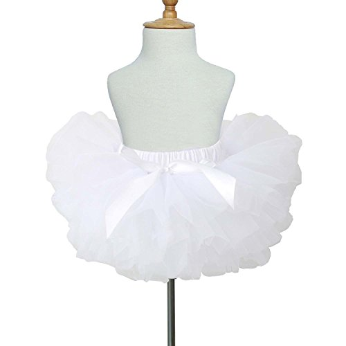 TRADERPLUS Baby Girls Chiffon Pettiskirts Tutu Tulle Skirt Toddler Newborn Costume Bow-Knot Dress with Underskirt (White, Small 0-6 (Daily Costumes Pic)