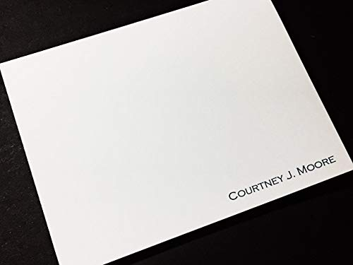 Cards Correspondence Casual (Personalized Professional Stationery/Stationary - SIMPLE NAME - Set of 12 Note Cards with Envelopes)