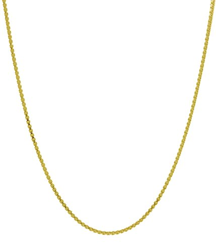 14K Solid Gold 0.53 mm Diamond Cut Box Chain Necklace- Available in 16