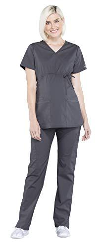 Cherokee Workwear Professionals Maternity Mock Wrap Top WW685 & Maternity Straight Leg Pant WW220 Scrub Set (Pewter - Medium) ()