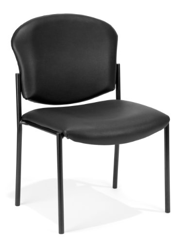 Fully Upholstered Contemporary Guest Chair - OFM Manor Series Armless Guest and Reception Chair, Anti-Microbial/Anti-Bacterial Vinyl, in Black (408-VAM-606)