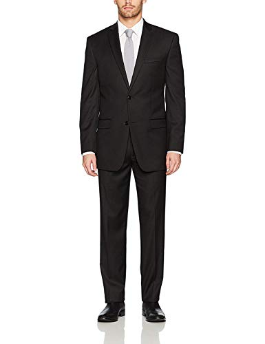 Adam Baker Fame Label Collection Men's 60501 Slim Fit 2-Piece Suit - Black - 46S