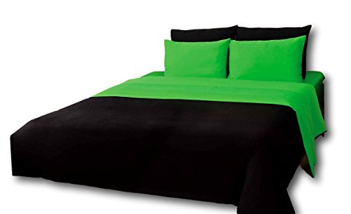 Tache 6 Piece 100% Cotton Solid Lime Green and Black Reversible Comforter Set, California King ()